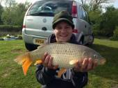 Adam Chamberlain with a lovely 6lb 5oz common from Rushcombe caught on luncheon meat.  This fish was part of a 52lb bag - 17 fish in total.