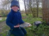 This is Alex Bryant, aged 7, with a really lovely bream caught using double maggot on a size 20 hook from the Match Lake.