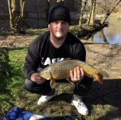 Andre Davies with a lovely carp from the South Pool on 6th March.  Caught on a weighted line, 12 hook and sweetcorn.