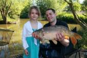 This is Sharla and her Dad Rowan with a lovely 8lb carp from peg 8 of the Carp Lake.