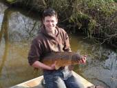 This is our son, Ben, with a beautiful mirror carp which was delivered on 8th March 2011 to boost stock in the Carp Lake.