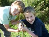 This is Felix and Ben with a 2lb carp from Rushcombe Lake - great photo.