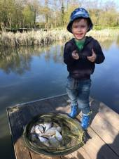 "Harry Brewer, aged 3.5, came fishing with his Dad, James.  Dad baited up and landed the fish but Harry had a little 6' 6"" spinning rod so he was able to hold the rod, strike when the float disappeared and reel the fish in all by himself.  Just proves you are never too young!"