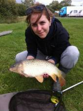 Here's Heather with the last fish of her session which included around 12 carp and a small net of around 20-30 roach, rudd, carp and goldfish. The carp took a treble maggot float fished on the bottom with some left over ground bait squeezed over the hook bait. Heather was the star angler!