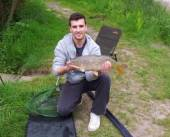 This is Jedd Billing with a nice common carp caught on maggot from the Carp Lake.