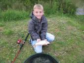 This is 7 year old Joe Pocock with his first ever fish.