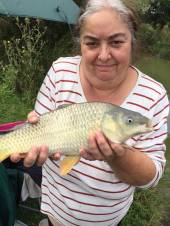 This is Julie Stephens with a nice common carp from Rushcombe caught using ground bait with curry paste and sweet corn on the hook.