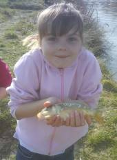 Jason Ashley sent us these super photos of his daughters Kimberley (8.5) and Caitlin (5.5) on their first ever fishing trip.  They caught using maggots in the margins of Rushcombe Lake on Easter Sunday afternoon.  This is Kimberley.