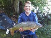This is 14 year old Liam Wilde with a cracking 9.5lb common carp that formed part of a 50lb bag (13 fish) caught on halibut pellet on a feeder on peg 10 of the Match Lake.