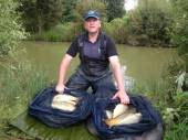 Mark Bellringer with part of a fantastic 216lb bag from peg 50 of Rushcombe Lake.