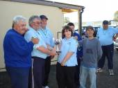 We were delighted to welcome the NFA Disabled national match fishermen to our venue in October 2008. Even though the match was fished in bright sunlight by anglers unfamiliar with the lake, 35lb was the winning weight.  Everyone weighed in and there were excellent back up weights.  The match was organised by Steve Nethercott and sponsored by Jeff and Ann from The Fishing Man Tackle Shop in Highbridge.  Their daughter, Stephanie presented the winning trophy.