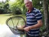 Peter Webb with a nice 4lb carp from peg 28 of the Match Lake on his first time fishing.  He used a method feeder and artificial sweetcorn.