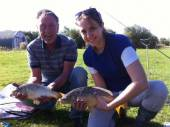 Here are Sid & Heather with their first fish of the day from pegs 11 & 12 of Rushcombe Lake.  Both float fished on the bottom with double maggot.