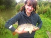 This is 12 year old Sophie Howe with a lovely 5.5lb carp from peg 9 of  the North Pool. This was her first ever fishing trip and she landed the fish herself. She caught it fishing 2 kernels of sweetcorn on a size 16 hook to nylon with a float over a hemp and 3mm pellet mix.