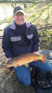 Season ticket holder Terry Lear with a nice carp from the Match Lake.