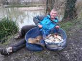 This is Thatchers Tackle's Tom Thick with a lovely 75lb bag of fish from the Match Lake on Saturday 1st March. Tom had 50lb of quality silvers including F1's, skimmers and fan tailed crucians, plus several carp caught long and in the margins.
